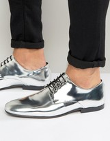 Asos Lace Up Shoes In Silver