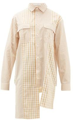 J.W.Anderson Asymmetric Gingham Cotton-poplin Shirt - Womens - Brown White