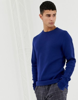 Jack and Jones Knitted Sweater With Straight Edge Hem-Blue