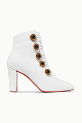 Christian Louboutin Lady See 85 Patent Textured-leather Ankle Boots - White