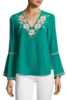 Nanette Lepore Embroidered Silk Crepe de Chine Top, Jade