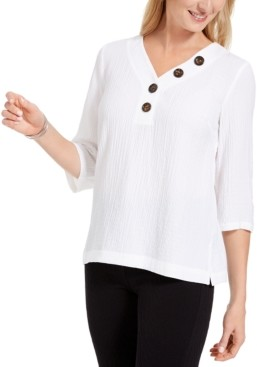 JM Collection Crinkle Button-Neck Top, Created for Macy's