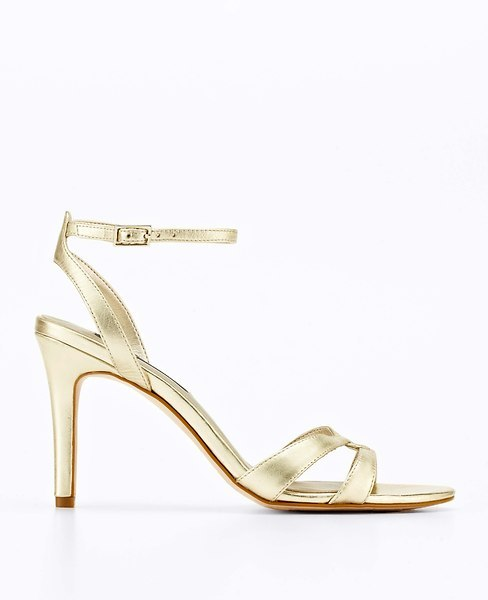 Ann Taylor Metallic Leather Ankle Strap Sandals