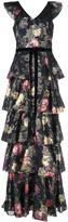 Marchesa floral ruffle maxi dress
