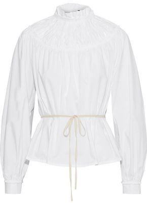 Proenza Schouler Ruffle-trimmed Shirred Cotton-poplin Blouse