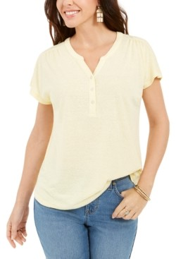 Style&Co. Style & Co Petite Linen-Blend Henley Top, Created for Macy's