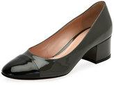 Gianvito Rossi Patent Cap-Toe Block-Heel Pump, Black/Blue