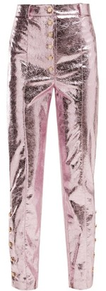 Hillier Bartley Crackle-coated Metallic Trousers - Womens - Pink