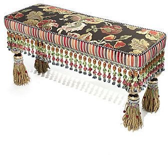 Mackenzie Childs MacKenzie-Childs Dark Tassel Tapestry Bench