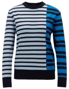 BOSS Stripe-intarsia sweater in cotton with silk