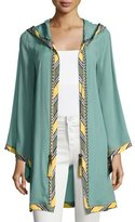 Talitha Collection Striped-Border Hoodie Short Robe, Green