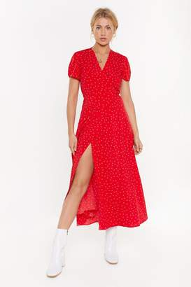 Nasty Gal Womens Don't Spot the Party Polka Dot Maxi Dress - red - L