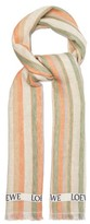 Loewe Logo-jacquard Striped Linen-blend Scarf - Mens - Beige Multi