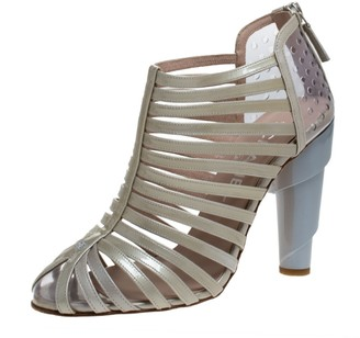 Chanel Grey/Green Patent Leather and PVC Caged Booties Size 36.5