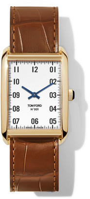 Tom Ford Timepieces N.001 44mm x 30mm Rectangular Alligator Leather Watch