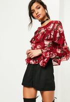 Missguided Floral Printed Frill Blouse