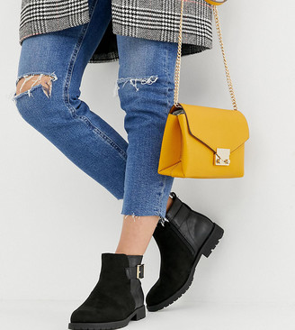 New Look Wide Fit wide fit suedette flat boot in black