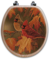 WGI GALLERY Maple Leaves and Cardinals Oak Round Toilet Seat