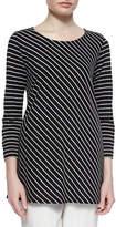Caroline Rose Bias-Striped Knit Tunic, Petite