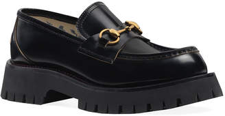 Gucci Django Leather Lug-Sole Loafers