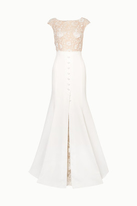 Rime Arodaky Sewell Lace And Crepe Gown - White
