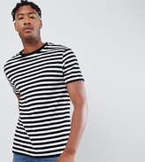 Asos Design Tall Striped Relaxed T-Shirt In Velour