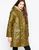 French Connection Starkey Waxed Long Line Parka