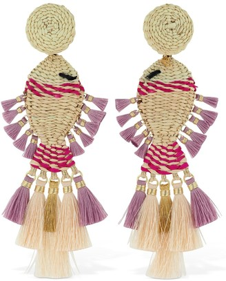Mercedes Salazar Raffia Fish Clip-on Earrings