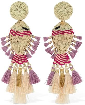 Mercedes Salazar Raffia Fish Clip-On Earrings