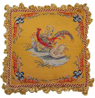 Petit Point Hkh International Pheasant and Swan Pillow