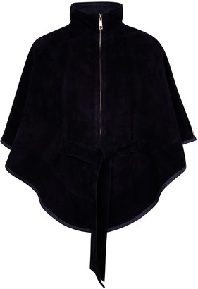 Zut London Suede Leather Cape With Belt - Black