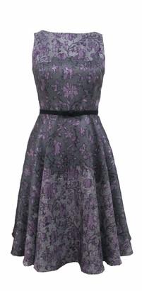 Gabby Skye Women's Sleeveless Round Neck Shantung Fit and Flare Dress