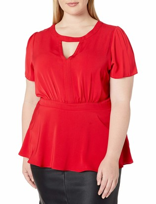 City Chic Women's Apparel Women's Plus Size Peplum Style top with Keyhole Neckline Detail
