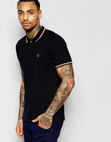Diesel Polo T-Oin Slim Fit Tipped Pique in Black