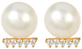 Argentovivo 18K Gold Plated Sterling Silver 7-8mm Genuine Freshwater Pearl & CZ Bar Earrings