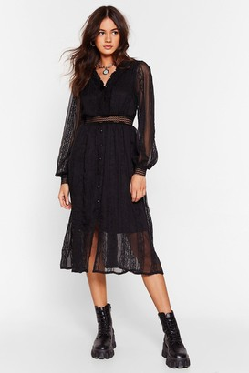 Nasty Gal Womens Lace Go Out Broderie Anglaise Midi Dress - Black - S