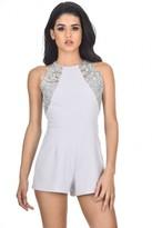 AX Paris Silver lace playsuit