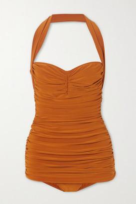 Norma Kamali Bill Mio Ruched Halterneck Swimsuit - Bronze