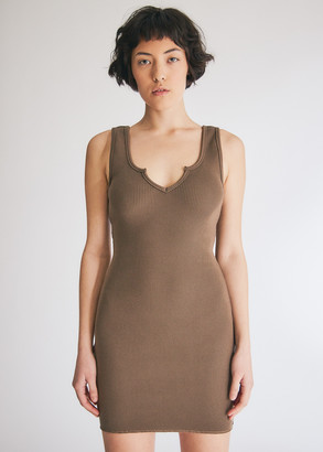 Which We Want Women's Hollie Ribbed Dress in Khaki, Size Small | Spandex