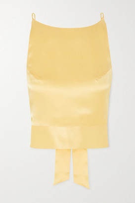 HARMUR The Audrey Open-back Silk-satin Top - Pastel yellow
