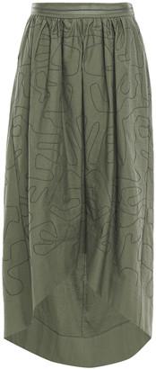 Brunello Cucinelli Bead-embellished Cotton-blend Twill Skirt