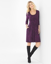 Soma Intimates 3/4 Sleeve Wrapped Waist Short Dress Linework Floral Warm Plum