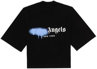 Palm Angels NY Spray Paint Logo Cotton T-Shirt
