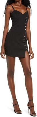 Rowa Crystal Button Sleeveless Minidress