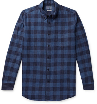Blue Blue Japan Button-Down Collar Checked Cotton-Flannel Shirt