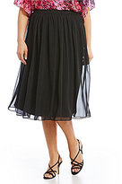 Alex Evenings Plus Chiffon Midi Skirt