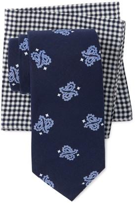 Tommy Hilfiger Crossed Paisley Tie & Gingham Pocket Square Set