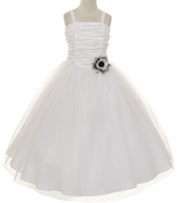 White Ruched Fit & Flare Dress - Toddler & Girls