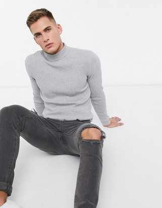 Esprit ribbed muscle fit roll neck jumper in light grey