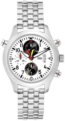 IWC White/Black Stainless Steel Spitfire Rattrapante Panda IW371803 Men's Wristwatch 44 MM